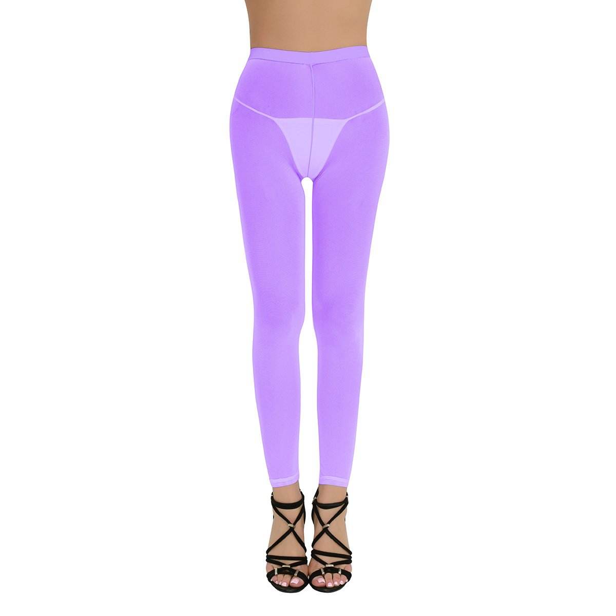 dPois Womens Super Soft Mesh Sheer See-through Full Length Footless Skinny Slimming Tights Leggings Pants Purple One Size