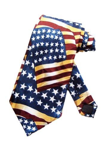 Steven Harris Mens Vintage American Flag Necktie - Blue - One Size Neck Tie