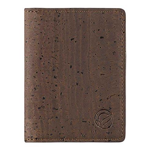 Corkor Slim Wallet for Men RFID   Vegan Non Leather   Bifold for Cards Cash Brown ()