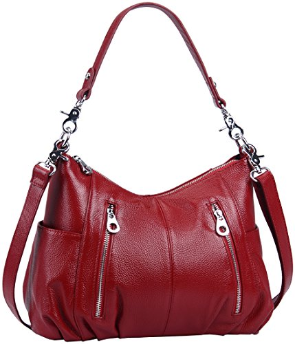 (Heshe Women's Leather Shoulder Handbags Cross Body Bags Hobo Totes Top Handle Bag Satchel and Purse for Ladies (Maroon-H))