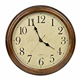 16-Inch Solid Wood Silent Non-Ticking Battery Operated Decorative Wall Clock with Large Arabic Numerals For Sale