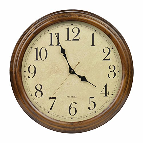 16-Inch Solid Wood Silent Non-Ticking Battery Operated Decorative Wall Clock with Large Arabic Numerals (Light Oak Wall Clocks)