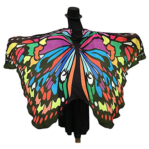 Multifit Womens Chiffon Beach Towels Wrap Skirt Butterfly Wing Shawl Holloween Costume Accessory Dance Wings(Long Style 1) -