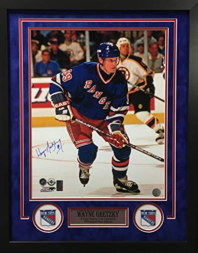 Wayne Gretzky New York Rangers Signed Autograph Custom Framed Photo Suede Matting 23x29 Photograph WGA Gretzky Authentic ()