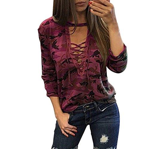 a lunga stampa Maglietta lunghe in Rosso Mengonee lunghe Camouflage a maniche da maniche a camicia manica UzqdqxwIR