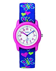Timex Kids T89001 Hearts and Butterflies Watch with Elastic Fabric Strap