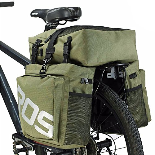 (Bike Panniers Waterproof Bag - 3 in 1 Multi Function Messenger Panniers for Bicycles, Bicycle Rear Seat Trunk Bag, Bicycle Saddle Bag for Mountain Cycling by COCO (Army Green))