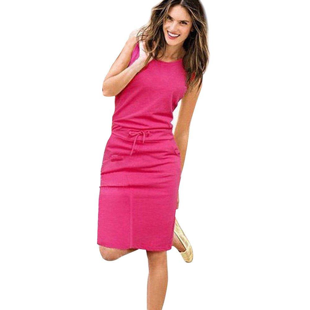 POTO Dress for Women,Solid Sleeveless Bodycon Mini Dress Casual Evening Party Dress Beach Tank Dress Sundress (S, Hot Pink)