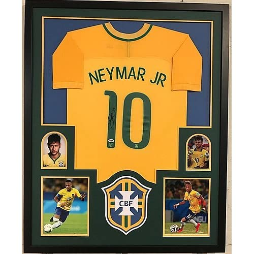 big sale 3db7b 17090 Neymar Jr Signed Custom Framed Brazil Brasil Soccer Jersey 1 ...
