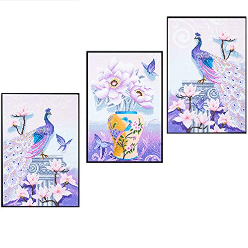 5D Diamond Painting kit diy crafts set paint with diamonds full drill mosaic Art Pictures 3d round crystal rhinestone peacock flower counted Embroidery wall sticker for Home Decoration 51.9'' x 23.6'' (Tile Mosaic Mural Art Scene)