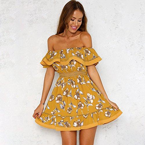 Casual Estampado Meizizivestido MeiZiZi yellow Vestido De Vestido Noche 7wf65T