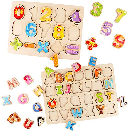Lewo Wooden Puzzles Alphabet Number Board Games Learning
