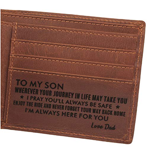 Gifts for Son, Personalized Leather Wallet, Engraved Leather Wallet for Son, Graduation Gifts for Son, Deployment Gifts, Birthday Gifts for Son, Gifts to Son from Dad