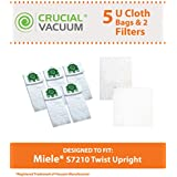 Filter/Bag kit for Miele Vacuums w/Green locking collar. Has 2 MicroFilters & 5 Style U Cloth Vacuum Bags; Compare to Miele Part No. 07282050; Designed & Engineered by Think Crucial