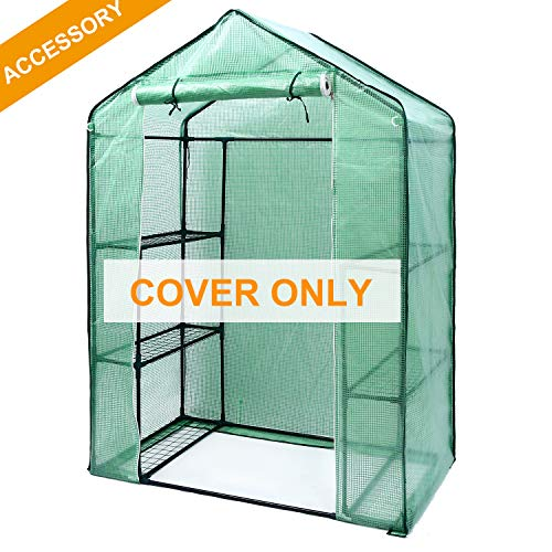 Ohuhu Greenhouse Cover, Durable PE Material Cover Accessory for 3 Tiers 6 Shelves Stands Small Walk-in Greenhouse, 4.7 x 2.4 x 6.4 FT, Cover Only (Without Windows)