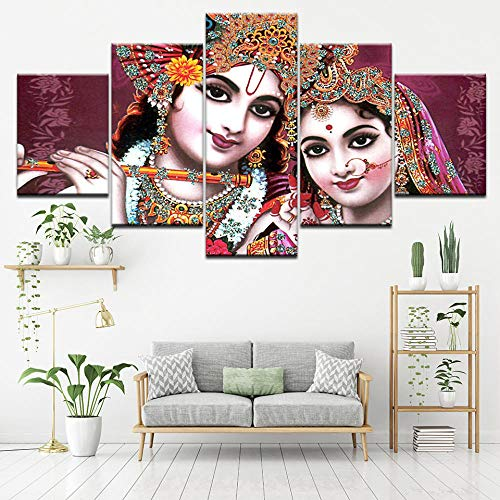 Yyjyxd Pictures Modular Poster HD Printing 5 Pieces India God Radha Krishna Canvas Painting Modern Living Room Wall Decor Art Framework -16x24/32/40inch,Without Frame (Best Radha Krishna Hd Wallpaper)