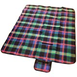 Red or Blue Folding Waterproof Lightweight Picnic Blanket Travel Rug with Carry Handle- 150cm x 130cm (Blue)