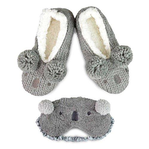 Winter Pom Pom Slipper Shoes With Eyeshade For Women (Grey) (Fun Pom Poms)