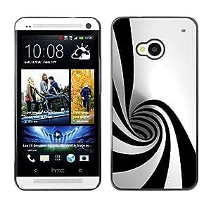 All Phone Most Case / Hard PC Metal piece Shell Slim Cover Protective Case Carcasa Funda Caso de protección para HTC One M7 Black White Hypnotic Shape Tunnel Art Psychedelic