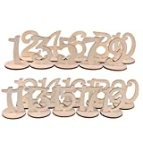 Table Numbers, 1 to 20 Wooden Wood Wedding Table Numbers with Holder Base for Party Home Decoration by eZAKKA, 9.7cm