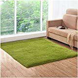 Lee D.Martin Indoor Area Rugs Living Room Bedroom Rectangle Ultra Soft Carpets Modern Shaggy Children Rugs Anti-Slip Backed Home Décor Rug,3.94'x5.25',Green