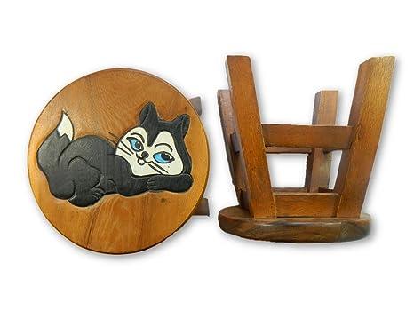Thai gifts childs sgabello sgabello in legno per bambini gatto