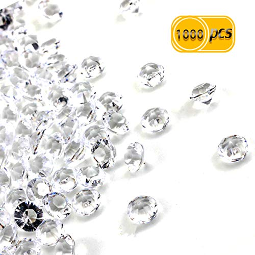 PRALB 1000PCS Diamond Decorations, Diamond Table Confetti Vase Filler Party Decorations Clear Acrylic Filler Beads Diamond Scatters Faux Fake Diamonds Crystal Table Confetti For Weddings, Bridal Shower, Birthdays, Home (1000 Count, 8mm) -