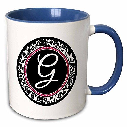 3dRose InspirationzStore Monograms - Letter G stylish monogrammed circle - girly personal initial personalized black damask with hot pink - 15oz Two-Tone Blue Mug (mug_154599_11)