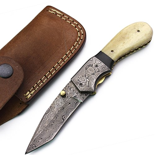 WolfKlinge DCF17-8 Handmade Damascus Steel Folding Pocket Knife, Camel Bone, with Cowhide Leather Sheath
