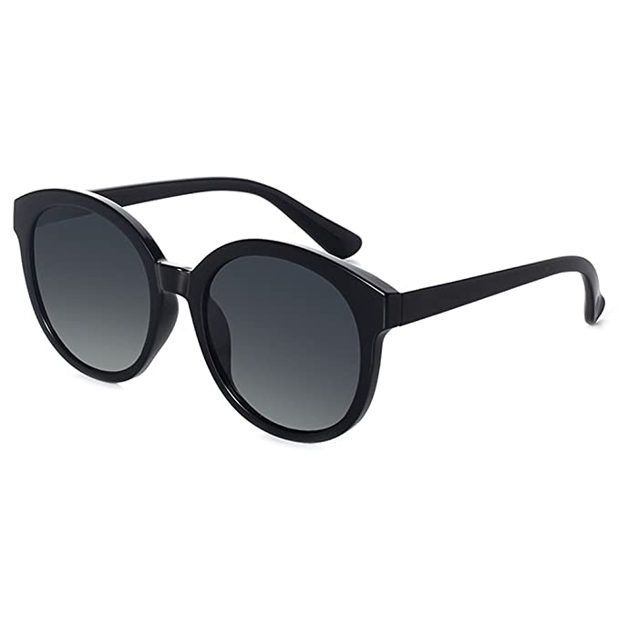 48b32e40748 BLUEKIKI YEUX Women Polarized Sunglasses Vintage Oversized Round Mirror(Black