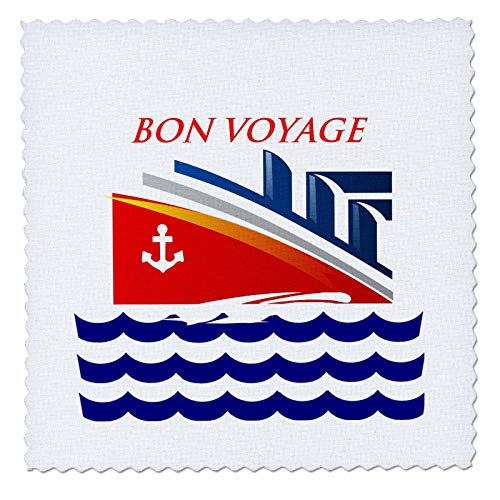 3dRose lens Art by Florene - Nautical Décor II - Image of Words Bon Voyage With Cartoon Ship And Ocean Waves - 22x22 inch quilt square (qs_317576_9)