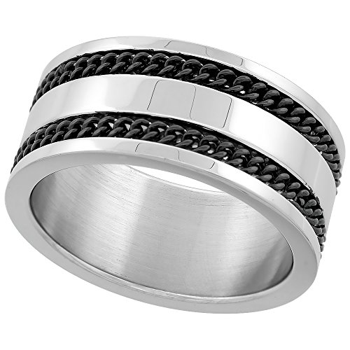 [Surgical Steel Blackened Braided Knot Stripes Ring 10mm wide, size 8] (Rope Stripe Ring)
