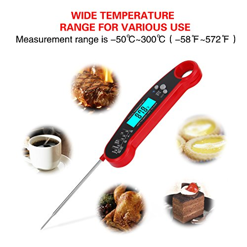 Instant Read Meat Thermometer, Digital Thermometer with Backlight / Calibration, Waterproof Ultra Fast Food Thermometer with Long Probe for Kitchen, Outdoor Cooking, BBQ, Grill, Candy by sinotron (Image #4)