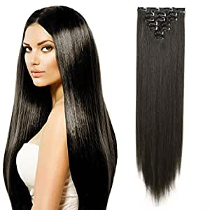 "OneDor 24"" Straight Full Head Kanekalon Futura Heat Resistance Hair Extensions Clip on in Hairpieces 7pcs 140g (Straight 4#-Dark brown)"