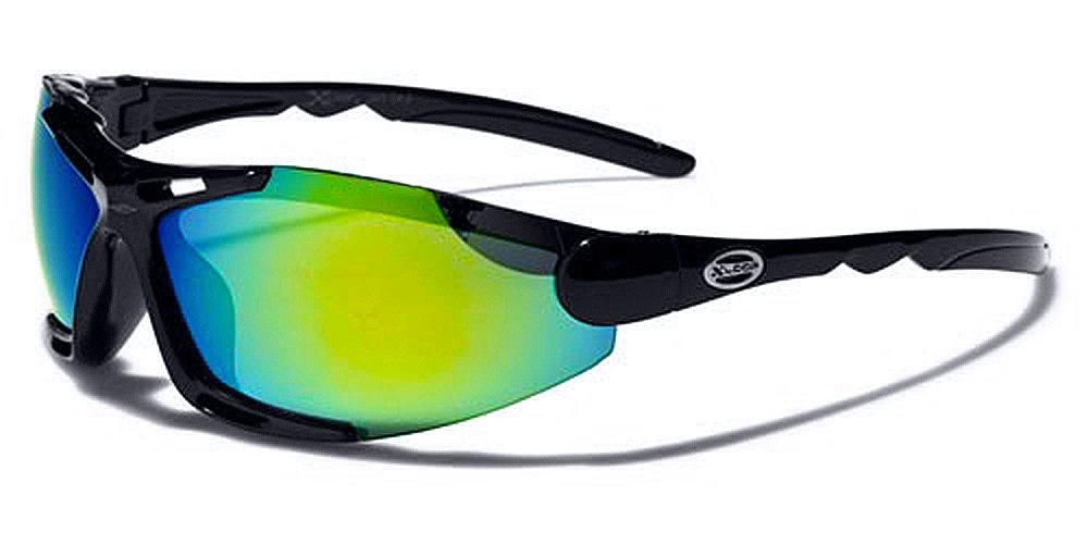 Occhiali da Sole X-Loop Sport - Ciclismo - MTB - Sci - Bici - Running - Moto/Blade Nero Verde Iridium Specchio Xloop
