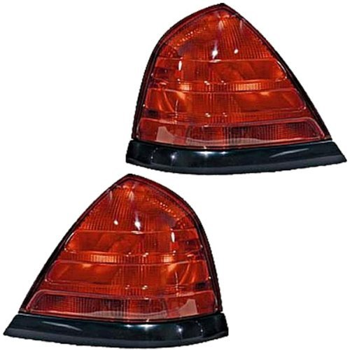 2000-2010 Ford Crown Victoria without Sport Package (All Red, Black Trim, 2-Bulb Unit) Taillight Taillamp Rear Brake Light Lamp Set Pair Right Passenger AND Left Driver Side (2000 00 2001 01 2002 02 2003 03 2004 04 2005 05 2006 06 2007 07 2008 08 2009 09 2010 10) ()