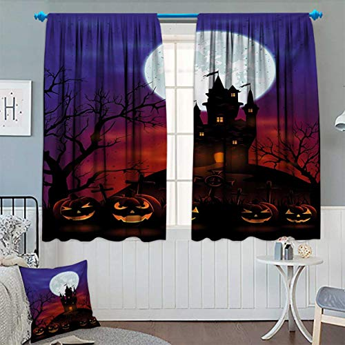 Anhounine Halloween,Blackout Curtain,Gothic Haunted House Castle Hill Valley Night Sky October Festival Theme Print,Decor Curtains by,Multicolor,W72 x L108 inch
