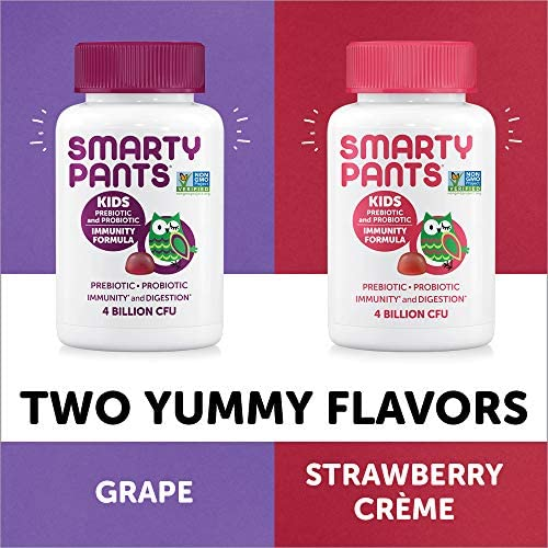 51UcwDJHa0L. AC - SmartyPants Kids Probiotic Immunity Formula Daily Gummy Vitamins; Immunity Boosting Probiotics & Prebiotics; Digestive Support*; 4 Bil CFU, Strawberry Crème, 60 Count(30 Day Supply) Packaging May Vary