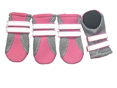 Vibrant Fellow Paw Protector Dog Boots Breathable and Skid-proof with Reflective Velcro Straps Colour Pink Set of 4 Size X-Small - Inner Sole Width 1.42 Inch