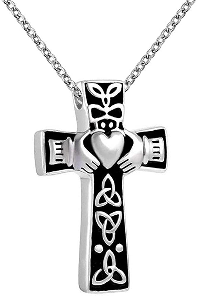 Casa De Novia Jewelry Urn Necklace for Ashes Celtic Knot Claddagh Cross Style Cremation Memorial Keepsake Pendents for Men Women