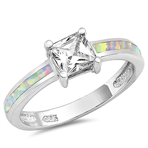 Clear CZ White Simulated Opal Square Princess Ring 925 Sterling Silver Band Size 9