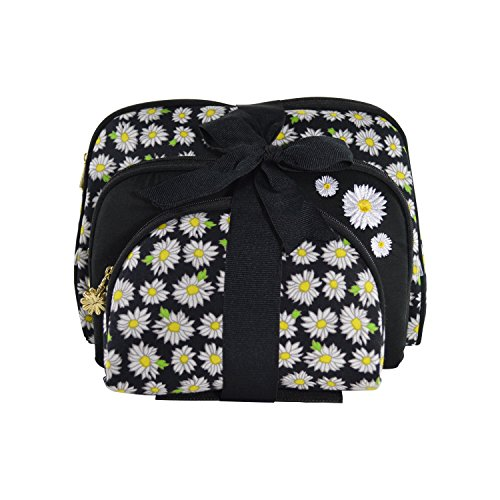 - Once Upon A Rose Cosmetic Bag 3 Piece Set, Makeup Organizer, Toiletry Pouch, for Brushes, Pencil Case, Accessories, Travel, Girls, Gift Idea (Daisy Black)