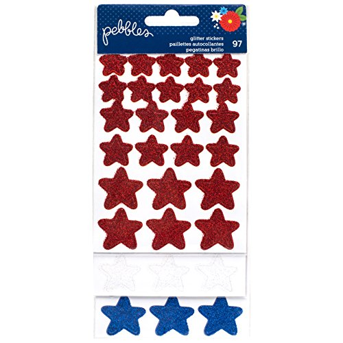 - American Crafts 733211 Pebbles America The Beautiful Stickers Glitter Stars Red, White, Blue 3 Sheets