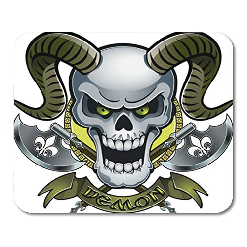 Semtomn Gaming Mouse Pad Ancient Skull Horns Crossing Battle Axes and Text Demon Antique 9.5