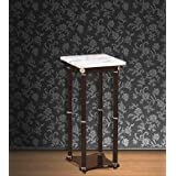 Import Furniture Contemporary Design 27-inch Plant Stand Side Table, White Marble Top with Espresso Finish Wood Base