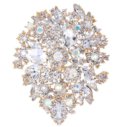 - EVER FAITH Women's Austrian Crystal Vintage Style Flower Leaf Cluster Brooch Pendant Clear Gold-Tone