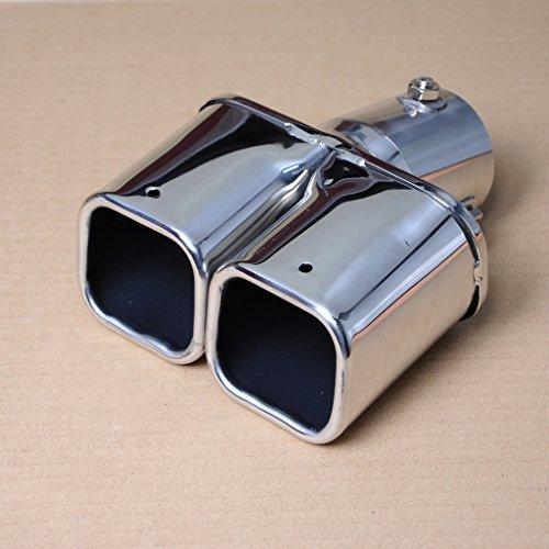 Wotefusi Car Universal New 206 Stainless Steel Dual Exhaust Muffler Silencer Tail Tip Pipe 46-62mm Inside Diameter