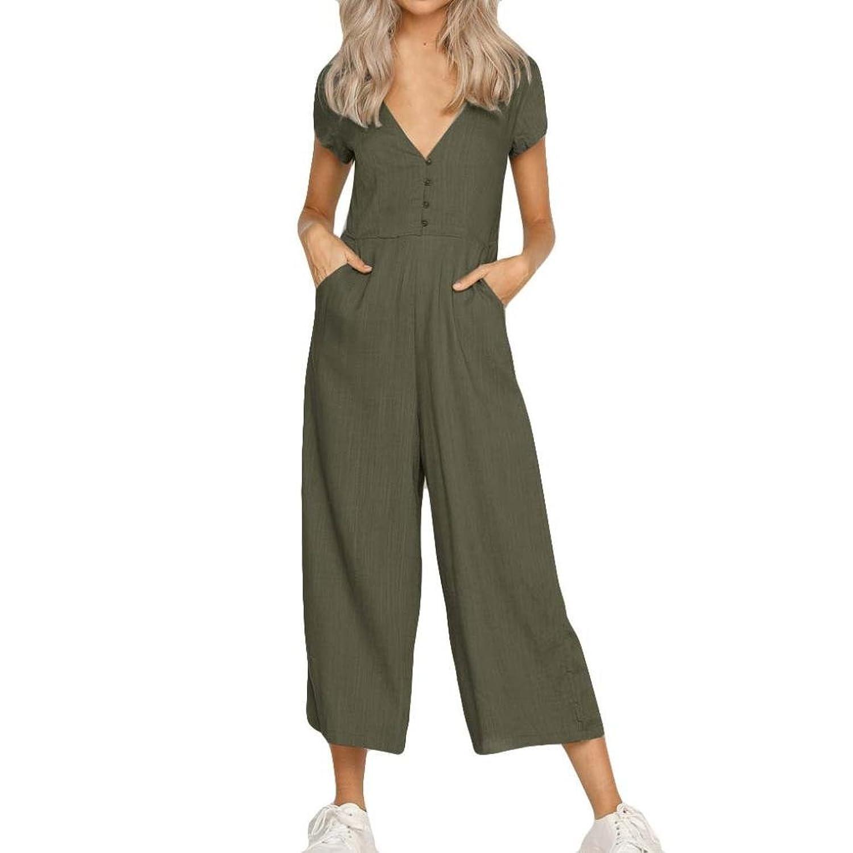 7fbf936f740977 Beste Damen Lässig Reine Farbe Kurzarm Breites Hose Bein V-Ausschnitt mit  Knopf Hosenanzug Jumpsuit