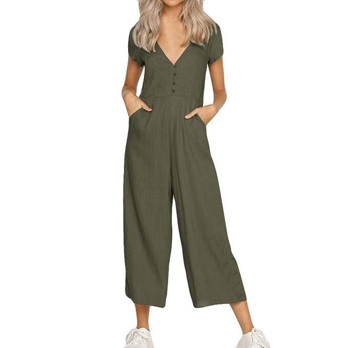 6453f6b204e074 Damen Lässig Reine Farbe Kurzarm Breites Hose Bein V-Ausschnitt mit Knopf  Hosenanzug Jumpsuit Elegant
