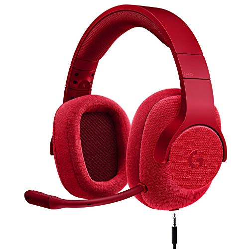 Logitech G433 7.1 Wired Gaming Headset with DTS Headphone: X 7.1 Surround for PC, PS4, PS4 PRO, Xbox One, Xbox One S, Nintendo Switch - Fire Red ()
